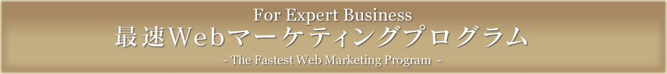 For Experts Business 最速Webマーケティングプログラム- The Fastest Web Marketing Program -